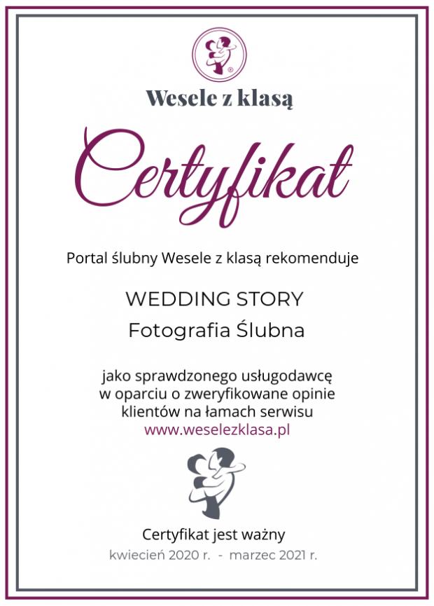 certyfikat wesele z klasą WEDDINGSTORY 2020_2021